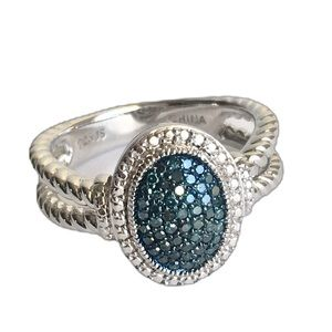 Affinity Blue Diamond Ring Oval Sterling Silver